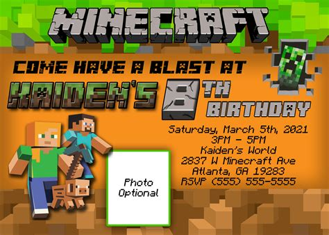 Minecraft Birthday Invitation Card Template by Minecraft Birthday Invitation Kustom Kreations