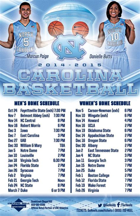 printable uk women s basketball schedule north carolina men s women s basketball schedule magnet