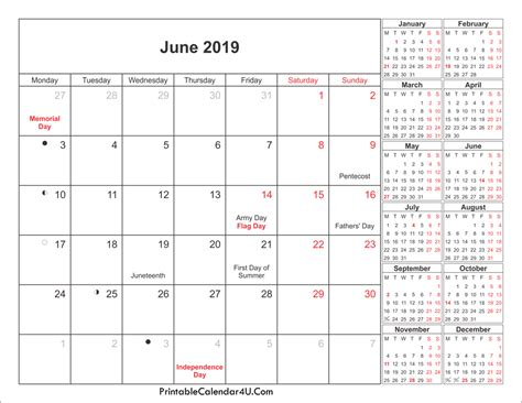 June 2019 Calendar Pdf Monthly Printable Calendar 2019 Monthly Calendar Template Excel