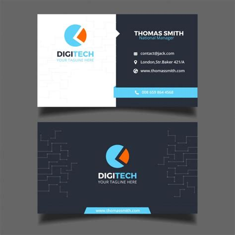 Business card for a technology business Vector   Free Download