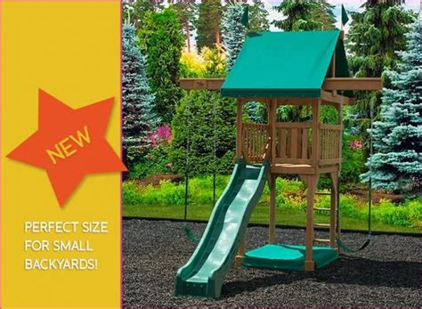 small backyard swing sets happy space swingset small space set w tower slide