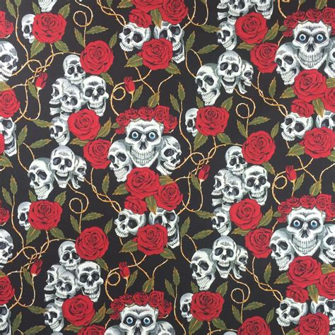 skull upholstery fabric discover direct skulls roses cotton fabric black red
