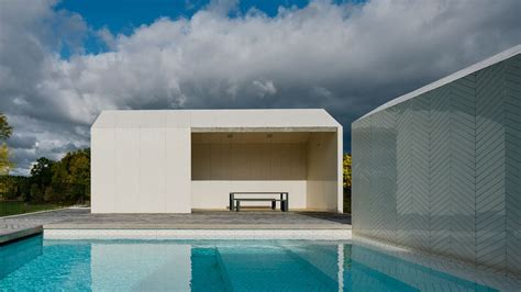 striking swimming pool complex  clad    white