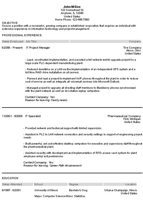 information technology resume template information technology resume exle