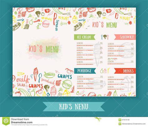 design banner menu kids menu cute colorful hand drawn vector template kids