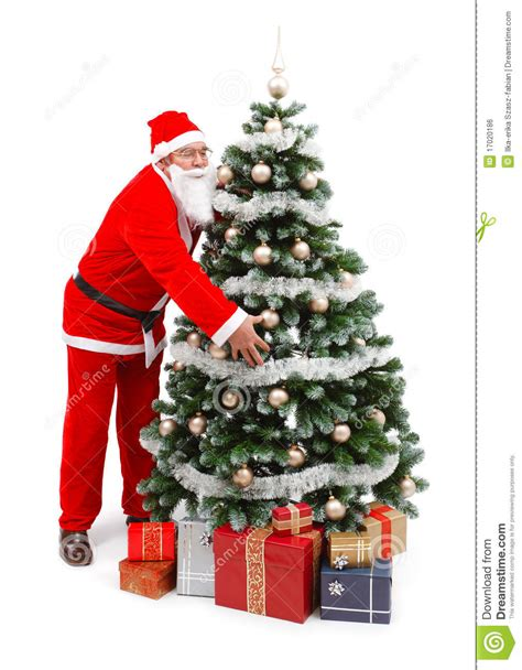 img of santa claus and x mas tree santa claus holding tree royalty free stock image image 17020186