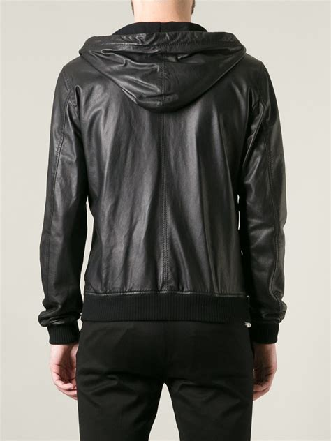 Dolce Jacket lyst dolce gabbana hooded leather jacket in black for