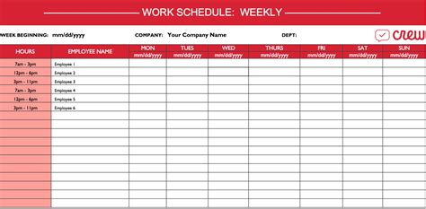 free weekly employee schedule template weekly work schedule template see adorable calendar
