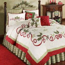 Pinch Pleat Sheer Curtains Holiday Garland Holly Quilt Bedding