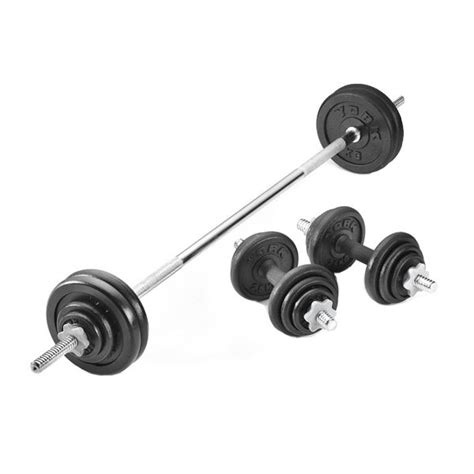 Barbell Dan Dumbell York 50kg Black Cast Iron Barbell And Dumbbell Set In A