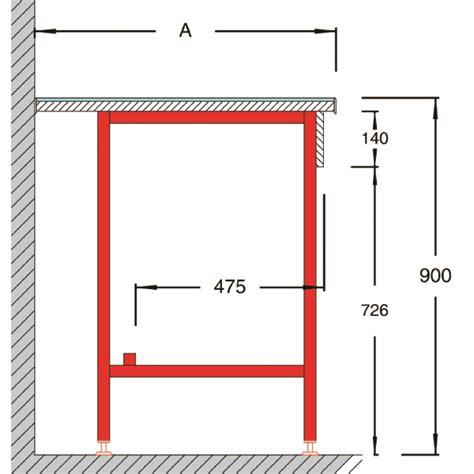 Plan De Travail Carrelé 750 by Paillasse Murale Avec Dosseret Tablette Mdt 750 900 Sidpa