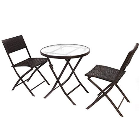 Folding Patio Table Set Giantex Patio Furniture Folding 3pc Table Chair Set Bistro Style Backyard Ratten Home Patio