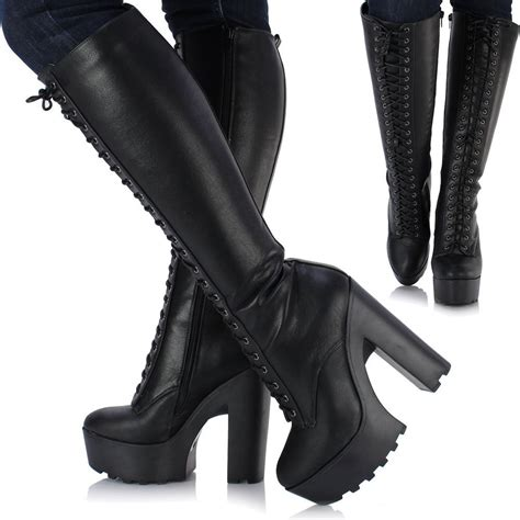 womens biker boots with heels chunky knee high heel platform lace up biker
