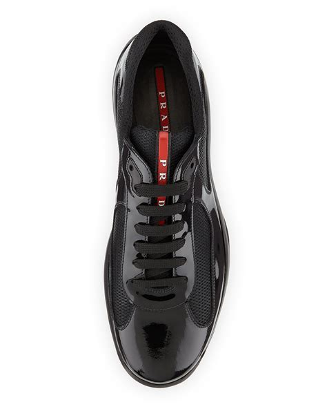 mens patent leather sneakers prada punta ala patent leather sneaker in black for lyst