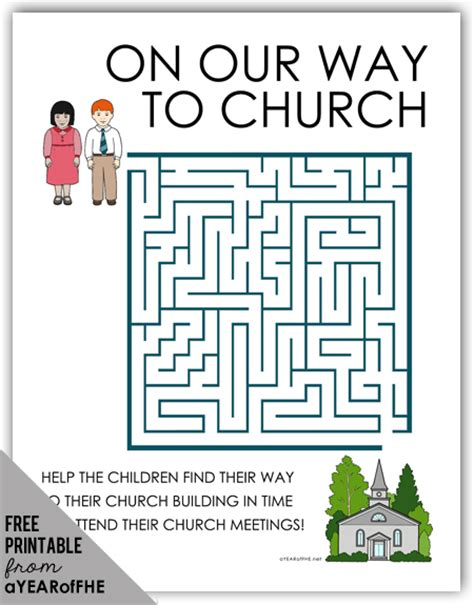 free printable games for children s church a year of fhe free maze activity page about church