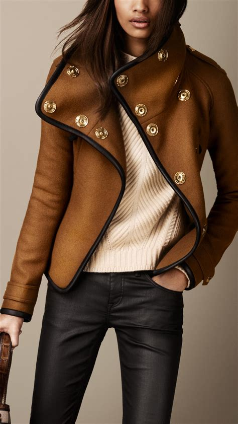 Burberry Style Leather burberry leather trim blanket wrap jacket in brown