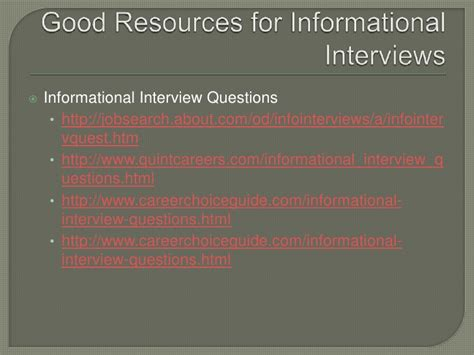 Mba Informational Interviews by Informational Interviews Presentation