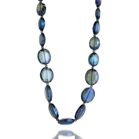large glass bead necklace threaded blue large glass bead strand