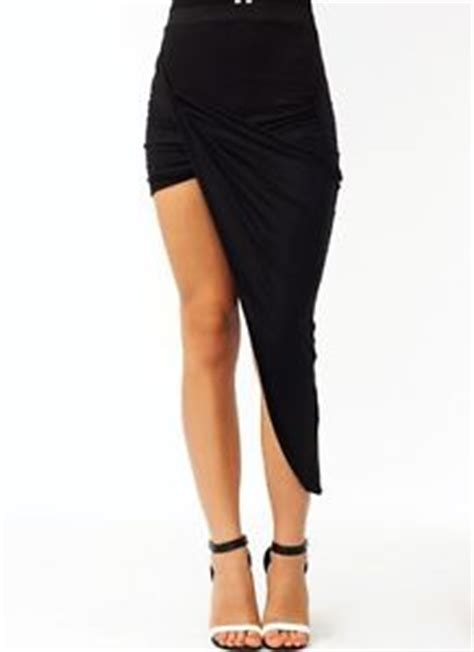 black designer asymmetric side wrap twisted draped midi