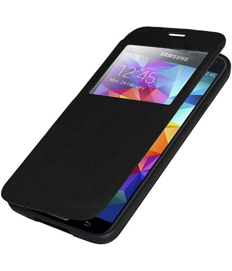 Flip Cover S5 edge s view flip cover for samsung galaxy s5 black plain back covers at low