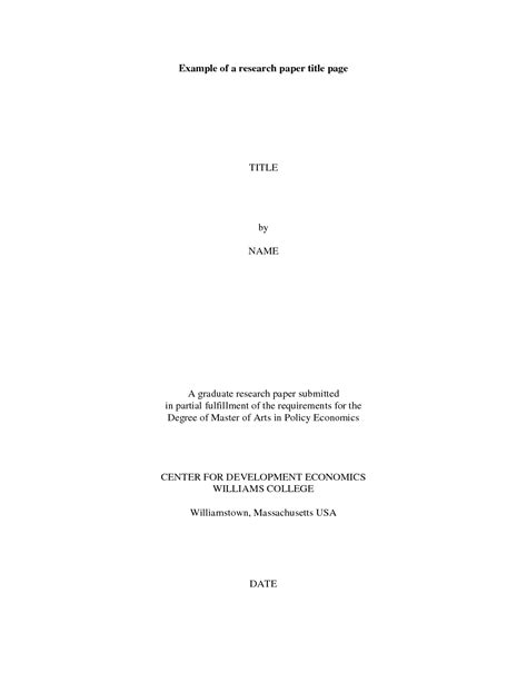 Cover Page For Research Paper by Exles Of Research Papers Title Page