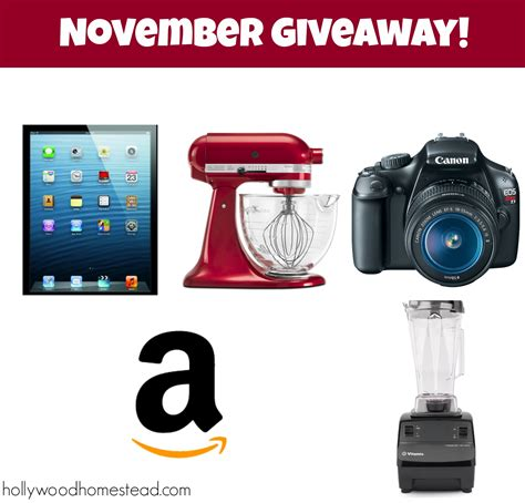 November Giveaway - november giveaway amazon gift card 400 value hollywood homestead