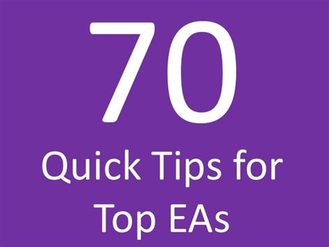 70 tips for executive assistants