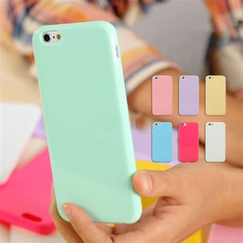 Softcase Glossy Iphone 55s pastel gloss shiny soft silicone cover skin