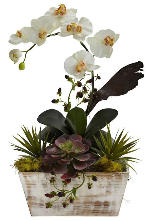 Grand Phalaenopsis Orchid Artificial Flower Arrangement Phalaenopsis Orchid Succulent Silk Arrangement 21