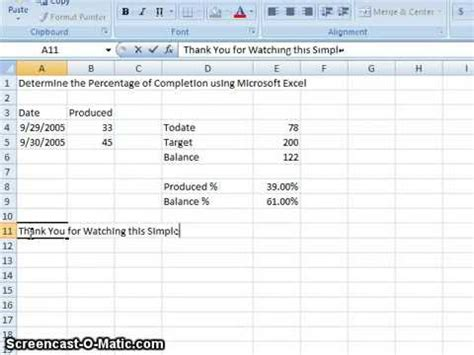 00020 Determine The Percentage Of Completion Using Microsoft Excel Youtube Percentage Of Completion Excel Template