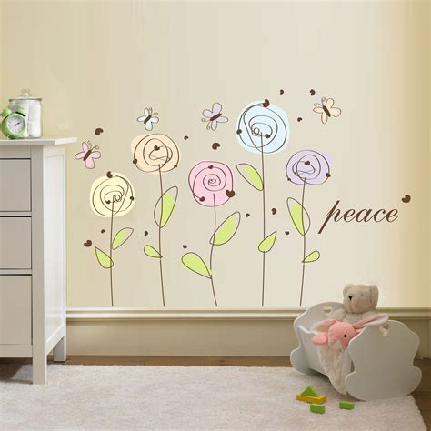 flowers wall stickers flower wall decal peace flowers decal vinyl by walldecalsource