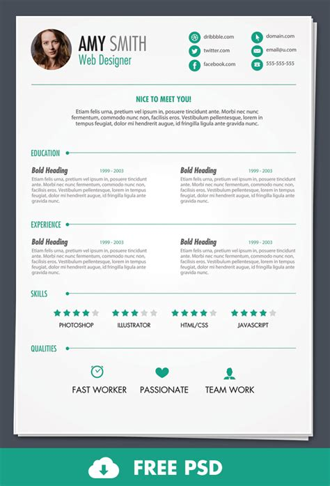 free resume with photo template free psd print ready resume template designbump