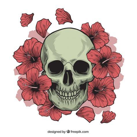 Flower Skull skull with flowers vector free