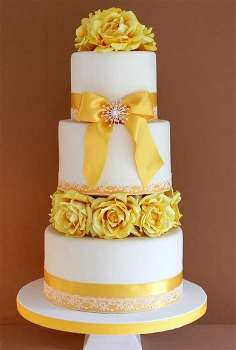 Wedding Cake Yellow by Three Tier White Wedding Cake With Yellow Flowers