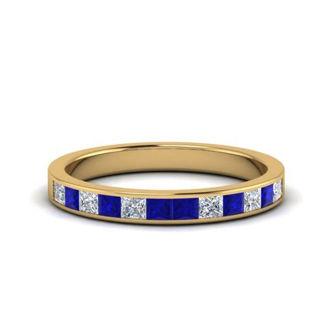 Blue Sapphire 14 30 Ct 0 75 ct princess cut channel wedding ring with