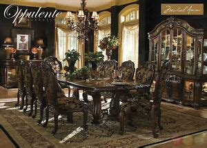 oppulente luxury  piece formal dining room set  china cabinet michael amini ebay