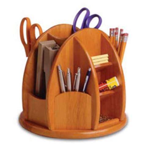 Revolving Wooden Desk Organizer In Desktop Organizers