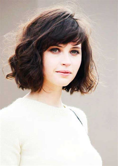 cute short haircuts for thick hair wavy hair 15 messy bob with bangs bob hairstyles 2017 short