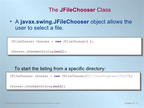 javax swing jfilechooser chapter 12 file input and output