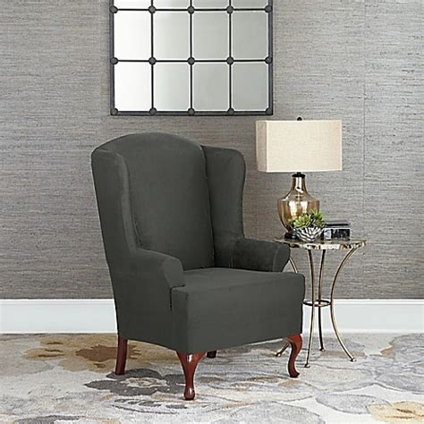 grey wingback chair slipcover buy sure fit 174 designer suede wing chair slipcover in grey