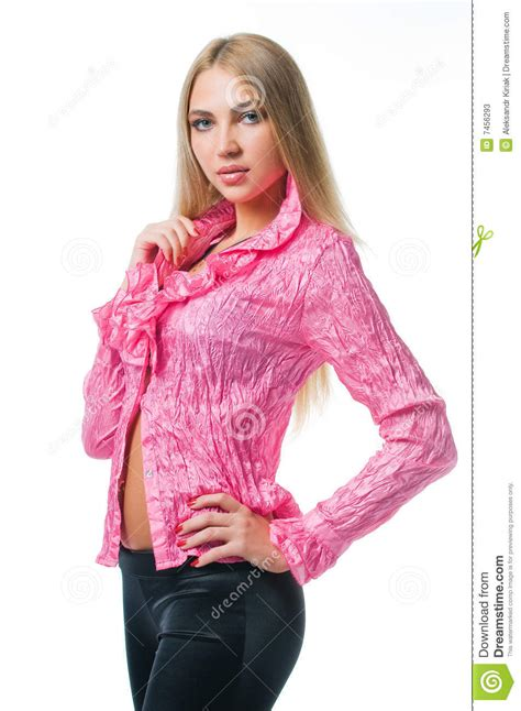 Blouse Gil in pink blouse stock image image of chic white 7456293