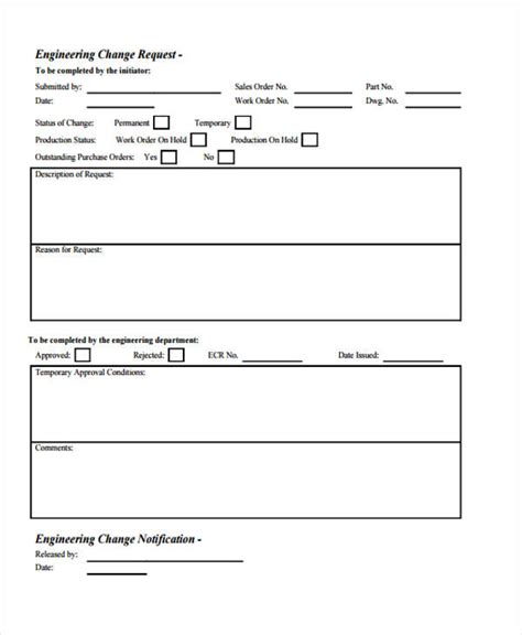 engineering change order template lovely engineering change request template pictures