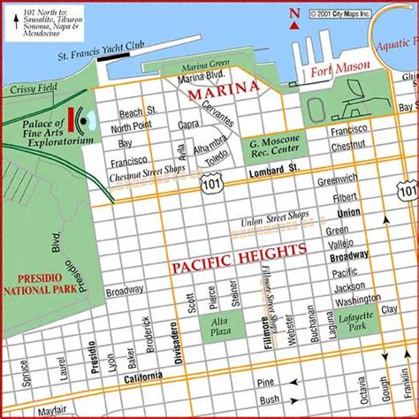 san francisco map marina district road map of san francisco marina district san francisco