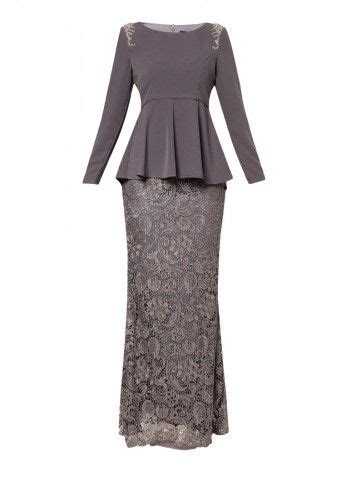 Baju Sequin Lace grey nurin shoulder beaded and lace skirt kurung by vercato features beaded embellishment design