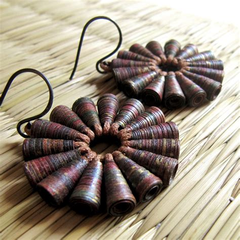 Of Paper Jewellery - rustic treasure earrings statement brown earrings big bold