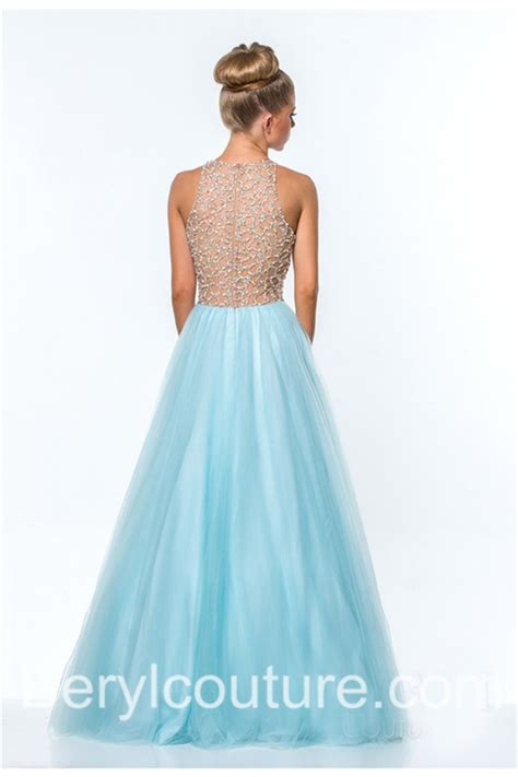 light blue tulle dress a line top beaded light sky blue tulle long prom dress