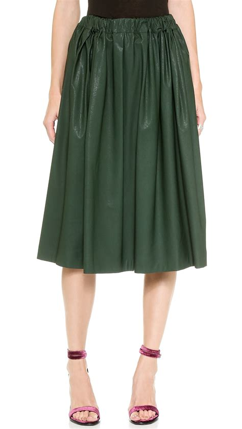 msgm faux leather skirt green in green lyst