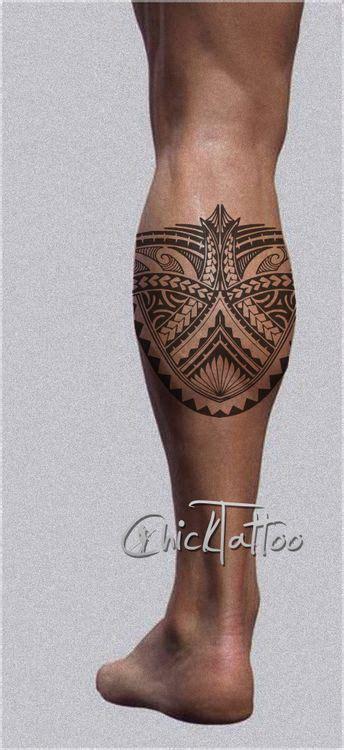 polynesian style calf tattoo design bohemian tattoos