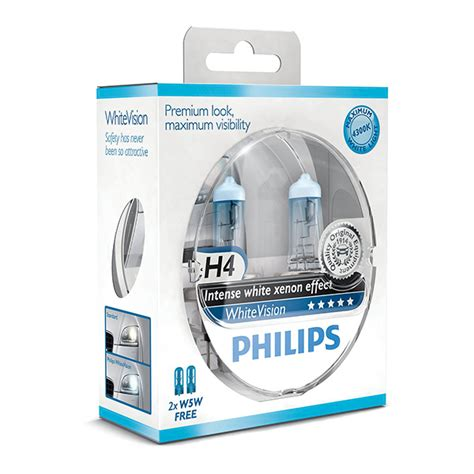 Lu Philips Blue Vision H4 philips white vision xenon effect h4 pack free set of 501 bulbs included car parts