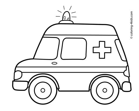 ambulance coloring page free ambulance car transportation coloring pages for kids